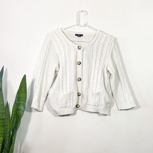 Cropped Ivory Chunky Knit Button Down Sweater